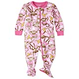 The Children's Place Girls' Baby and Toddler Monkey Snug Fit Cotton One Piece Pajamas, Sparkle Pink, 0-3 Months