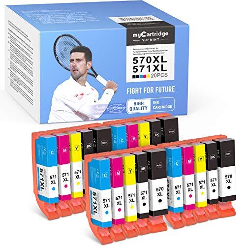 myCartridge SUPRINT 20 cartuchos de tinta compatibles PGI-570XL CLI-571XL para Canon PIXMA TS5050 MG5750 TS5051 TS5055 TS6050 MG6800 MG6850 MG6852