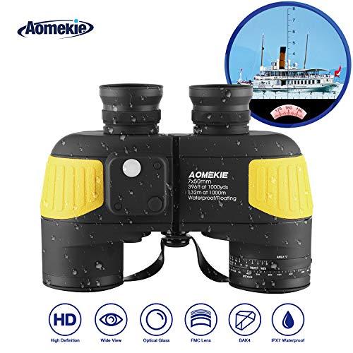 Aomekie Binoculars for Adults 7X50 Marine Military Binoculars Waterproof Fogproof with Compass Rangefinder BAK4 Prism Lens for Navigation Birdwatching Boating and Hunting (Army Green)