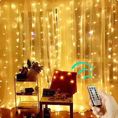 USB Lichtervorhang, LED Vorhang Lichterketten, Innen und außen Wasserdicht Beleuchtung Deko, Dekoration für Weihnachten Party Schlafzimmer Garten Fenster (Warmweiß, 3 * 1m)