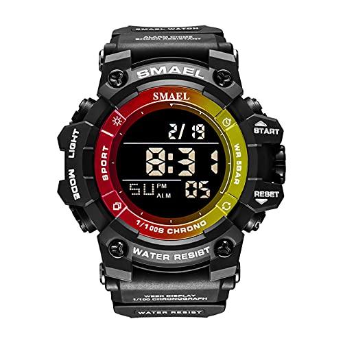 QZPM Relojes Deportivos para Hombre, con Retroiluminación Alarma Resistente Al Agua Digital Multifuncional Grande De La Cara Militar Relojes Electrónicos,Amarillo