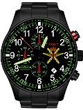Astroavia Herren-Armbanduhr Chronograph Quarz mit Edelstahl Armband FN37BS Militär