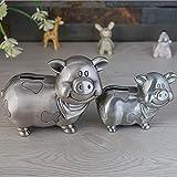 weichuang Tirelire créative en forme de cochon en métal - Couleur : grande taille