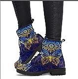 Bota de Cuero con Estampado de Calavera y Plataforma de Cuero para Mujer, Zapatos cómodos Ligeros Antideslizantes para Mujer (Color : Blue, Size : 41)