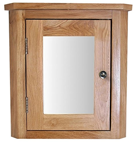 clickbasin Solid Natural Oak Wall Mounted 450mm High Corner Bathroom Mirror Cabinet. Corner Storage