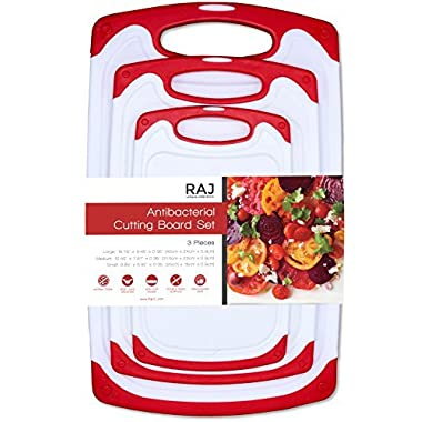 Raj Plastic Cutting Board Reversible Cutting board, Dishwasher Safe, Chopping Boards, Juice Groove, Large Handle, Non-Slip, BPA Free, FDA Approved (3 Piece Set, White/Red)