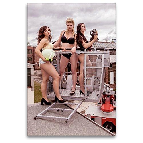 Premium Textil-Leinwand 80 x 120 cm Hoch-Format Sexy Feuerwehrfrauen | Wandbild, HD-Bild auf Keilrahmen, Fertigbild auf hochwertigem Vlies, Leinwanddruck von SnapArt