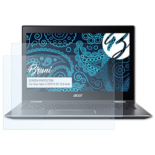Bruni Schutzfolie kompatibel mit Acer Spin 5 SP513-52 13,3 inch Folie, glasklare Bildschirmschutzfolie (2X)
