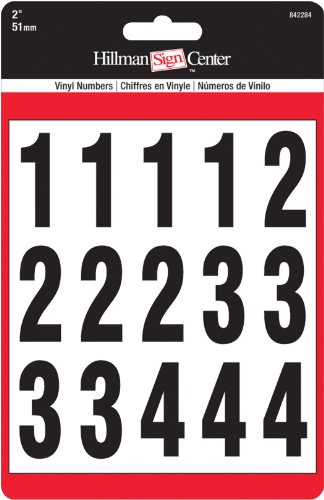 The Hillman Group 842284 Numbers Kit, Black White, 2-Inch