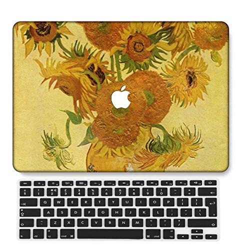 GangdaoCase Plastic Ultra Slim Light Hard Shell Case Cut Out Design Compatible New MacBook Pro 15 inch with Touch Bar/Touch ID with UK Keyboard Cover A1707/A1990 (Flower 28)