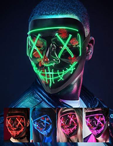 AnanBros Halloween Maske, LED Purge Maske im Dunkeln Leuchtend, Halloween Purge Maske 3 Beleuchtungsmodi für Kostümspiele Cosplays Feste und Partys - Grün
