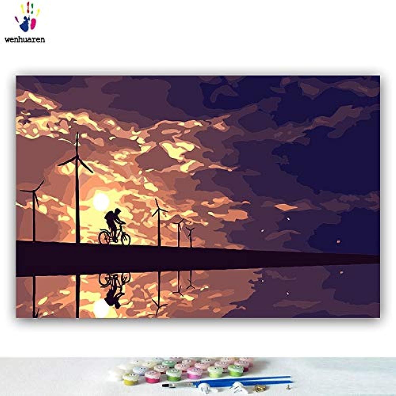 KYKDY DIY Farbstoffe Bilder nach Zahlen mit Farbe Sonnenuntergang Ansicht Abendansicht Freizeit Landschaft Bild Zeichnung Malen nach Zahlen gerahmt, 5058,70x90 kein Rahmen