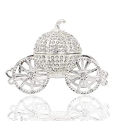 Hophen Pumpkin Carriage Decorative Rhinestones Hinged Jewelry Trinket Box Figurine Collectible Ornament (Silver)