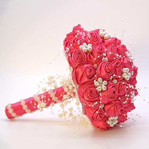 KUKISHOP Satin Rose Brooch Wedding Bouquet Bride Bridesmaid Rose Bouquet Pearls Bouquet for Wedding Church Party Home Decor, Rose Red Silk Flower Arrangements