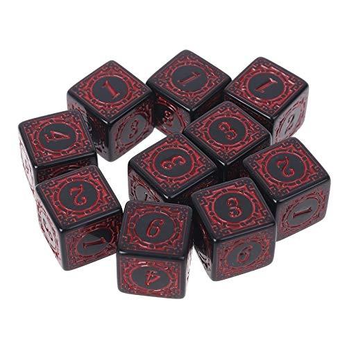 Claro para Leer 30 unids D6 Polyedral Dice Números de Borde Cuadrado 6 Caras Didices Beads Tabla de Mesa Juego para Bar Club Fiesta para la mayoría de los Jugadores de Juegos de Mesa (Color : Red)