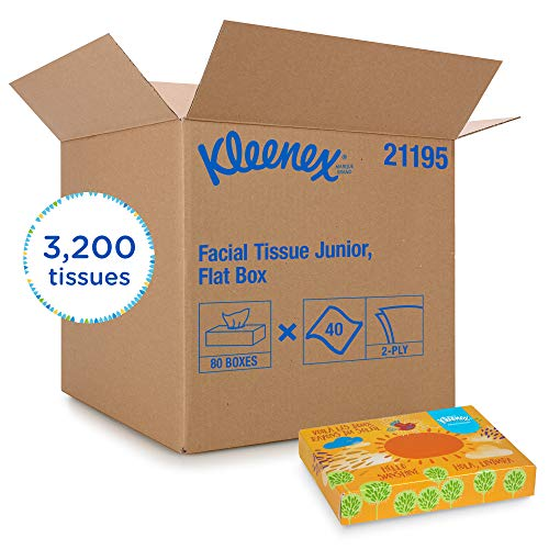 KimberlyClark Professional Kleenex Professional Facial Tissue for Business 21195 Flat Tissue Boxes 80 Junior Boxes / Case 40 Tissues / Box White