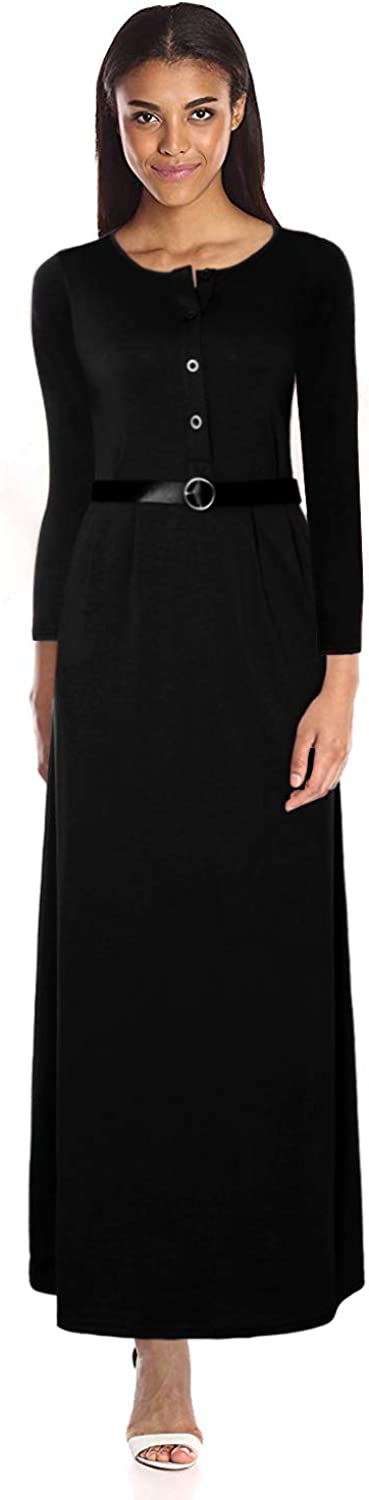 OWIN Women Long Sleeve Loose Plain Maxi Dresses Button and Belt Casual Long Dresses with Pockets