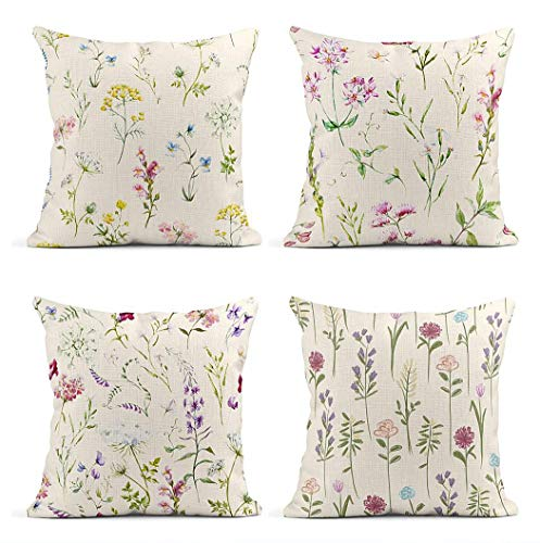 ArtSocket Set of 4 Throw Pillow Covers Watercolor Floral Pattern Delicate Flower Wildflowers Pink Tansy Pansies White Decor Linen Pillow Cases Home Decorative Square 18x18 Inches Pillowcases