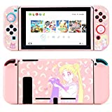 LightPro Cute Protective Case for Nintendo Switch - Soft Slim Grip Cover Shell for Console and Joy-Con with Screen Protector, Thumb Grips, Anti-Scratch (Sailor Moon)