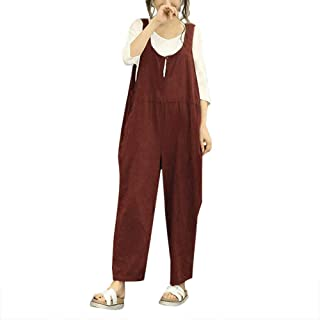 Bravepe Women Wide Leg Baggy Overalls Pockets Basic Linen Jumpsuits Romper