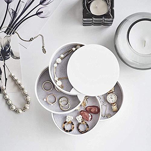 Avril Tian Aufbewahrungsbox für Schmuck, 4 Lagen, Kunststoff, 360 Grad drehbar, rund, mit Deckel für Ringe, Ohrringe, Armbänder, Halsketten weiß