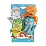 "Melissa & Doug Sea Life Friends Hand Puppets, Puppet Sets, Shark, Dolphin, Sea Turtle, and Octopus, Soft Plush Material, Set of 4, 14"" H x 8.5"" W x 2"" L"