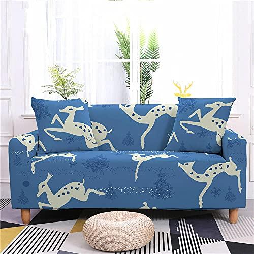 Fundas Sofas 3 y 2 Plazas Ajustables Alce Estampado Camel Azul Oscuro Fundas para Sofa Spandex Lavables Desmontables Fundas Sofa Elasticas Cubre Sofa Modernas Universal Espesas Funda para Sofa