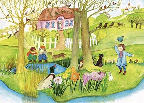 Frühling - 4 x Postkarte für Kinder von Eva-Maria Ott-Heidmann - schnurverlag