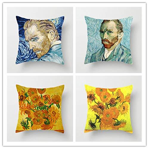 HYOOPL 4 Pack Federe Cuscino 50x50cm 20x20 inch Cuscini per Divani Decorativo Quadrato Cotone Biancheria copricuscini Caso Cushion Cover per Cuscino Divano,Van Gogh Pittura a Olio A3995