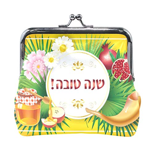 Rosh Hashanah Honey Apple Shofar Pomegranate Monedero Monedero Vintage Bolsa Moda Cuero PU Tarjetero para Mujeres Niñas Adolescentes Niños