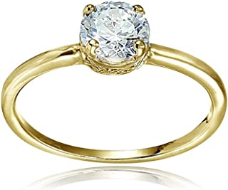 Hoops & Loops Sterling Silver Cubic Zirconia Round-Cut Solitaire Engagement Ring