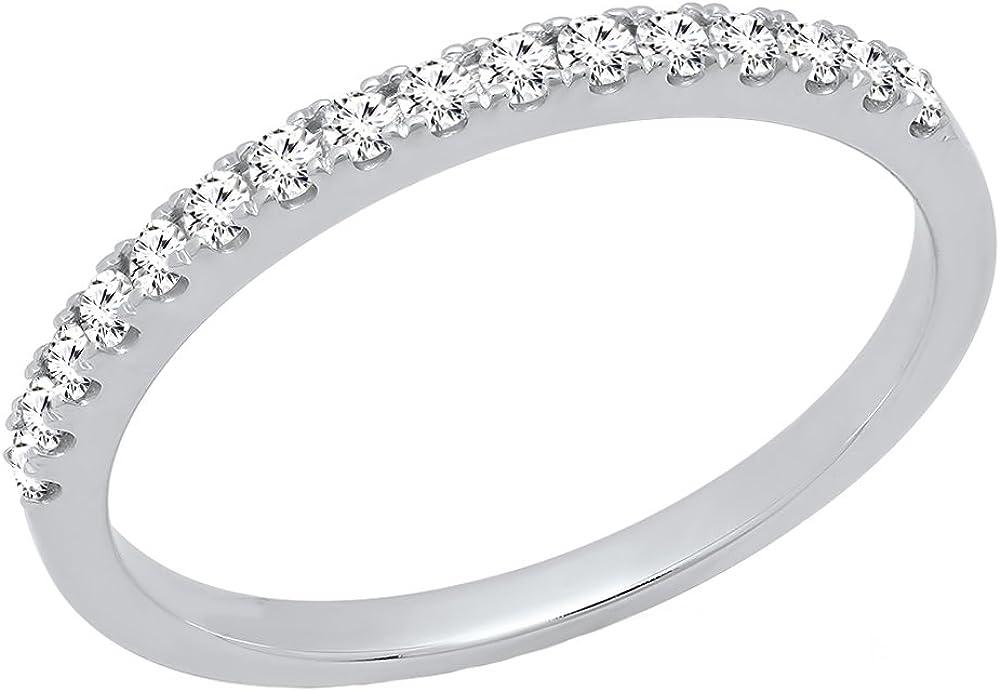 Dazzlingrock Collection 0.25 Carat (ctw) 10K Gold Round White Diamond Ladies Wedding Stackable Band 1/4 CT