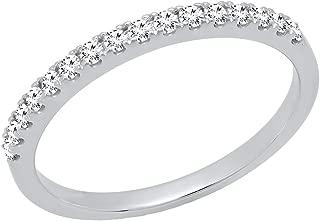 0.25 Carat (ctw) 10K Gold Round White Diamond Ladies Wedding Stackable Band 1/4 CT