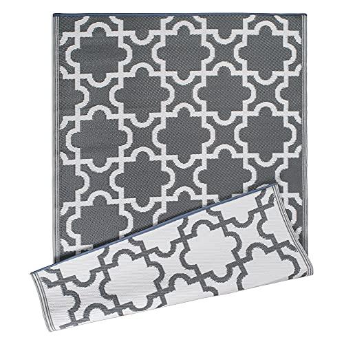 DII Reversible Indoor/Outdoor Lattice Woven Rug, 4x6 Ft, Gray