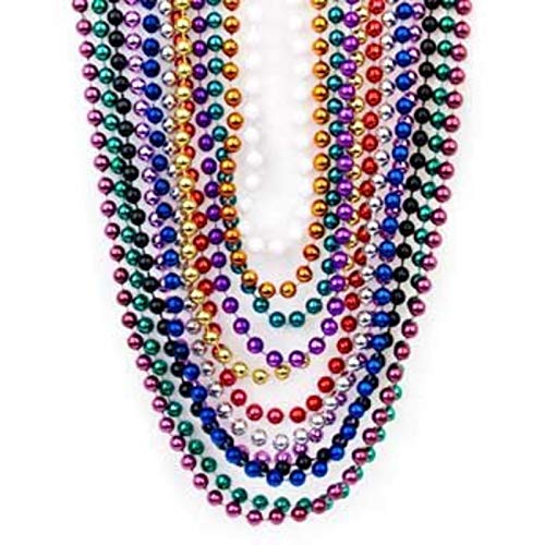 Metallic Bead Necklace Assortment (4DZ) - Jewelry - 48 Pieces