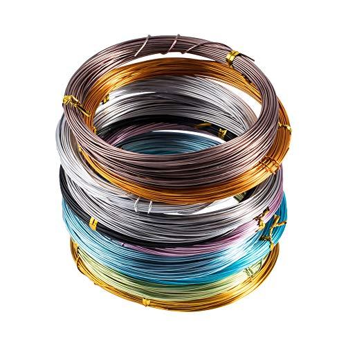 PandaHall Elite 10 Rolls Multicolor 0,8 mm Aluminiumdraht Jewely Craft Machen Draht Schmuckdraht, 20m / Rolle