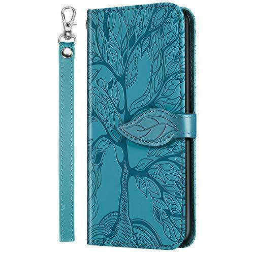 Funda tipo cartera para Huawei P30 Lite, P30 Lite Nueva funda de cuero para teléfonos inteligentes Patrón de árbol con soporte abatible / cierre magnético y bolsillo para tarjeta azul