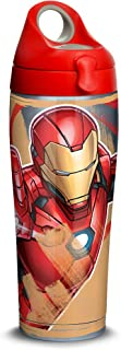 Tervis 1319360 Marvel - Iron Man Iconic Stainless Steel Insulated Travel Tumbler with Red with Gray Lid, 24oz Water Bottle, Silver