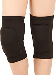 Vow 1 Pair Kids Protective Knee Pads Non-Slip Breathable Flexible Elastic Knee Sleeve Pad Support Protector for Volleyball Dance Basketball Baseball Wrestling Cycling (Black S for 7-14 Ages)