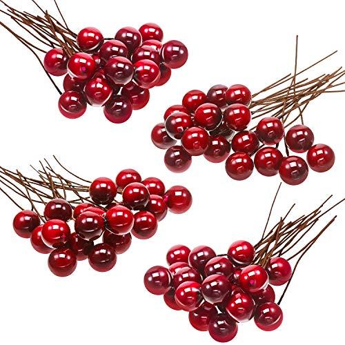 Bacche di Agrifoglio Artificiale, 100 Pezzi Mini 10 mm Decorazione di Bacche Finte su Filo per Decorazioni per Alberi di Natale Ghirlanda di Fiori Uso Artigianale Fai-da-Te