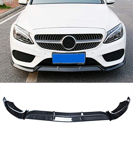 NINTE Front Bumper Lip Splitter for 2015-2018 W205 Benz C-Class Base Models,Carbon Fiber Coating ABS Material Spoiler Splittber Body Kits Guard -3Pcs