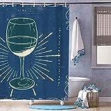 unknow Wasserdichter Duschvorhang Champagner Stielware Blau Badvorhänge Wasserabweisend Seifenwiderstandsfähig Trocknet schnell, 180 x 180 cm