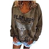 LIVE Life Rock RULL Letter Druck Langarm T Shirts College Teens Sportwear Eule Print Loose Sweatshirt Damen V-Ausschnitt Einfarbig Basic Pullover Oberteil Trend Streetwear Tops