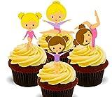Made4You - Decoración comestible para tartas con diseño de pequeñas gimnastas. Se sostienen de pie, Impreso comestible, 12 unidades