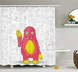 AdaCrazy lustige intelligente Monster tun Mathematik an der Wand Wissenschaft Nerds Comic-Illustration Schule Duschvorhang Stoff Stoff Badezimmer Dekor Set mit Haken gelb weiß
