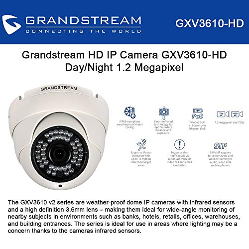 Grandstream Outdoor IP Camera GXV3610-HD Dome IP Camera Day/Night 1.2 Megapixel 720p (802.3af)