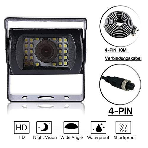 Universelle Nachtsicht-Rückfahrkamera mit Verlängerungskabel   Mehrere Schnittstellen   Mit Referenzlinie (4 Pin   24 Lampenkugeln   10 Meter Kabel)