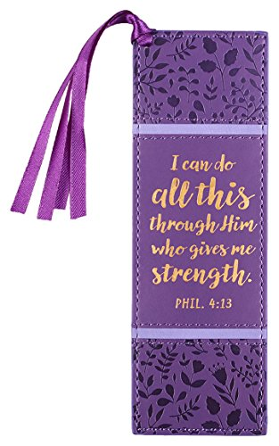 Christian Art Gifts Purple Faux Leather Bookmark | I Can Do All Things - Philippians 4:13 Bible Verse Inspirational Bookmark for Men and Women w/Satin Ribbon Tassel