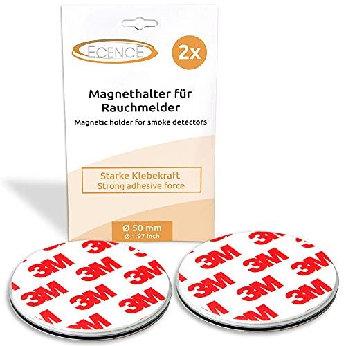 ECENCE Rauchmelder Magnethalter 2 Stück selbstklebende Magnethalterung für Rauchmelder Ø 50mm schnelle & sichere Montage ohne Bohren und Schrauben für alle Feuermelder und Rauchwarnmelder