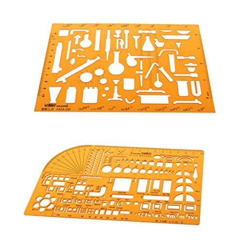 2ST Kunststoff Zeichnung Werkzeuge Multipurpose Mathematik Schablone Vorlage Herrscher